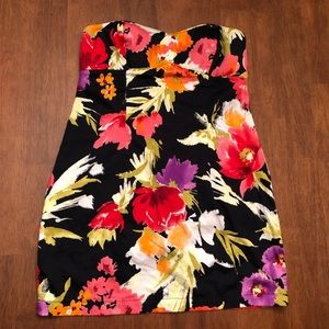Strapless XXI floral dress.